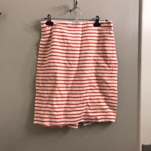 Jcrew red and white stripped pencil skirt